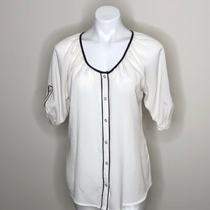 Express White with Black Trim Button Down Blouse